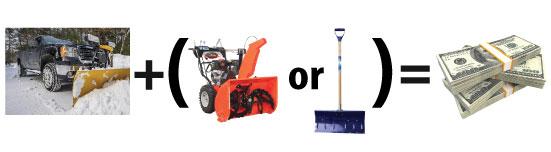 plow plus blower or shovel